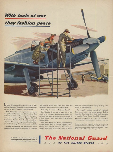 A 1947 recruitment ad for the Army National Guard featuring the P-51 Mustang