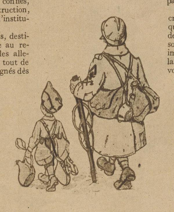 Alsatian Schoolboy carrying the haversack of a hairy bâton-de-poilu-par-Hansi-1919