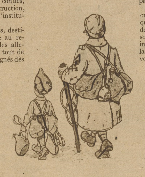 Alsatian Schoolboy carrying the haversack of a hairy bâton-de-poilu-par-Hansi-1919