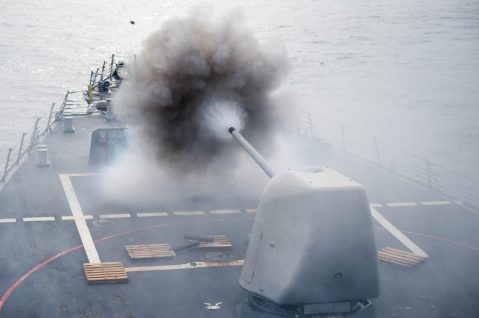 160726-N-YS140-125 SOUTH CHINA SEA (July 26, 2016) The Arleigh Burke-class guided-missile destroyer USS Stethem (DDG 63) conducts a firing exercise of the MK 45/5-inch lightweight gun at a surface target during Cooperation Afloat Readiness and Training (CARAT) Singapore 2016, July 26. CARAT is a series of annual maritime exercises between the U.S. Navy, U.S. Marine Corps and the armed forces of nine partner nations to include Bangladesh, Brunei, Cambodia, Indonesia, Malaysia, the Philippines, Singapore, Thailand, and Timor-Leste. (U.S. Navy photo by Mass Communication Specialist 1st Class John Pearl/Released)