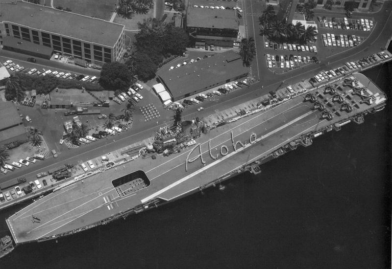 Australian aircraft carrier HMAS Melbourne greets her Hawaiian hosts. Pearl Harbor 1958 note 9 Gannets