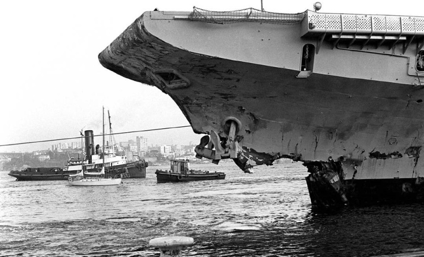 Bow of HMAS Melbourne after the collision with HMAS Voyager