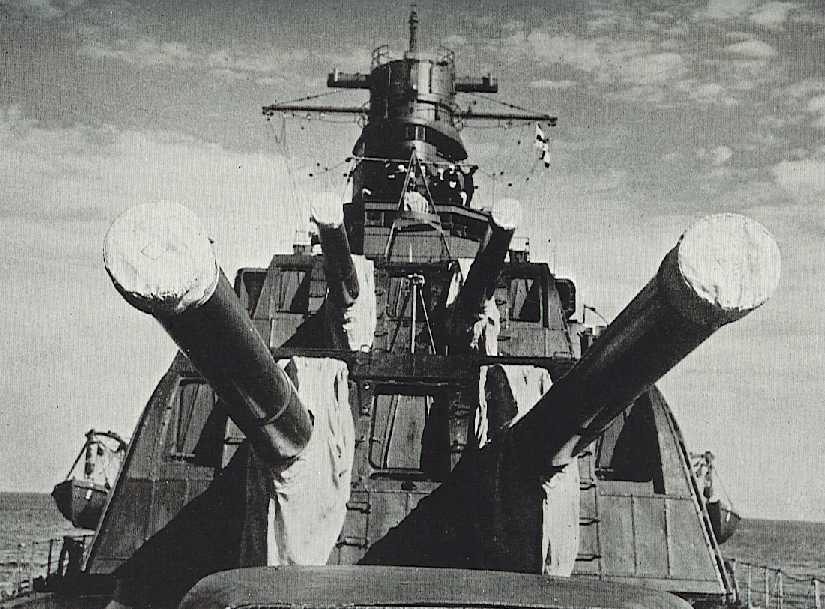 Bow turrets of Takao about 1932. Via Navweaps