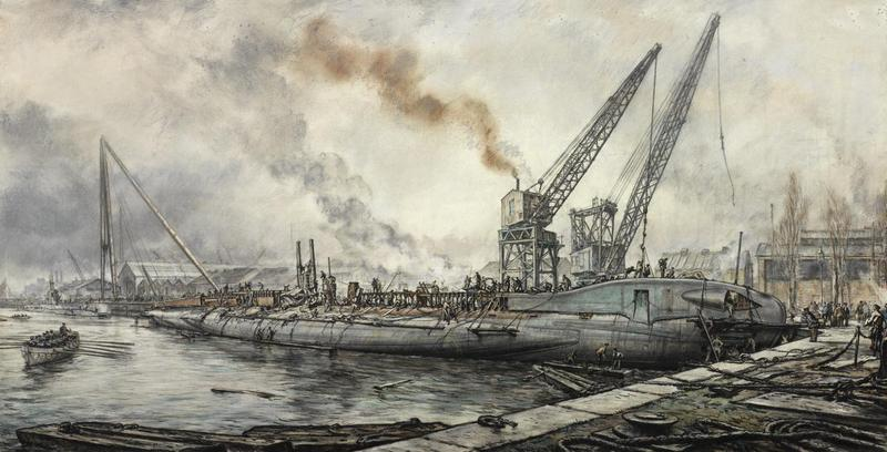 Building HM Submarine Tradewind, a Royal Navy submarine under construction in a dockyard. The hull is in place in the water, with numerous workers on deck, where they are busy assembling the conning tower and whole upper deck. Two large cranes are visible in the background and there is a large rowing boat in the water in the left foreground. IWM ART LD 3315. Built as P329 at Chatham, and launched on 11 December 1942, HMS Tradewind was infamous for sinking the Japanese army cargo ship Junyō Maru on 18 September 1944. Unbeknown to the Commanding Officer of Tradewind, Lt.Cdr. Lynch Maydon, the Junyō Maru was carrying 4,200 Javanese slave labourers and 2,300 Allied prisoners of war of which she took down 5,620 with her into the darkness.