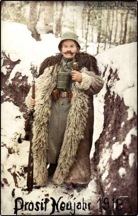 German sentry welcomes in the new year, 1918. Photo colourised artificially