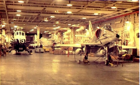 Her hangar deck-- note the Scooter and Wessex