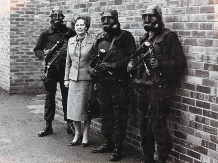 Margaret Thatcher and three SAS personnel after the six-day Iranian Embassy siege in London, May 1980