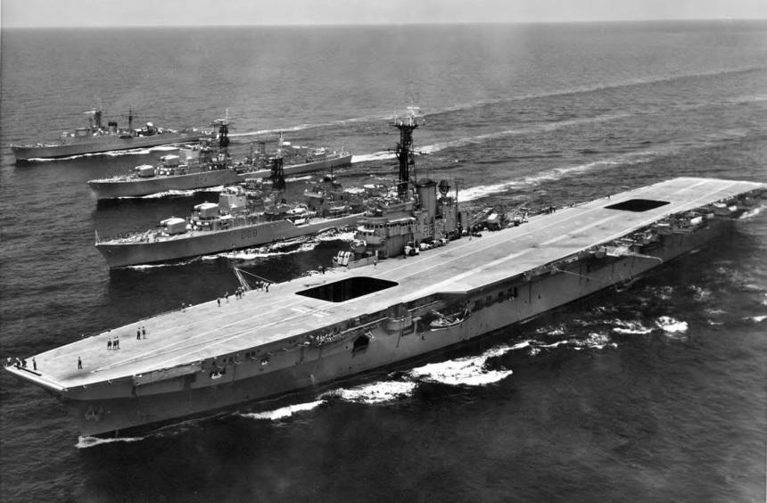 HMAS Melbourne, HMAS Vendetta (D08), HMAS Voyager (D04) and HMAS Quiberon (G81) sailing alongside each other.Voyager and Melbourne would soon meet again under less happy conditions