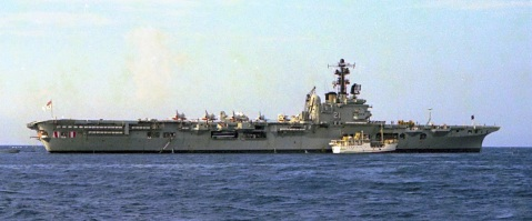 HMAS Melbourne (R21) at Honiara, Solomon Islands. 1st of April 1980. note Skyhawks on deck