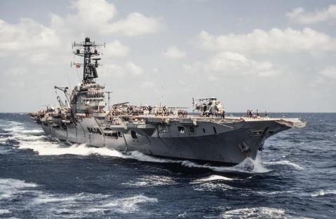 HMAS Melbourne (R21) note Sea King on deck