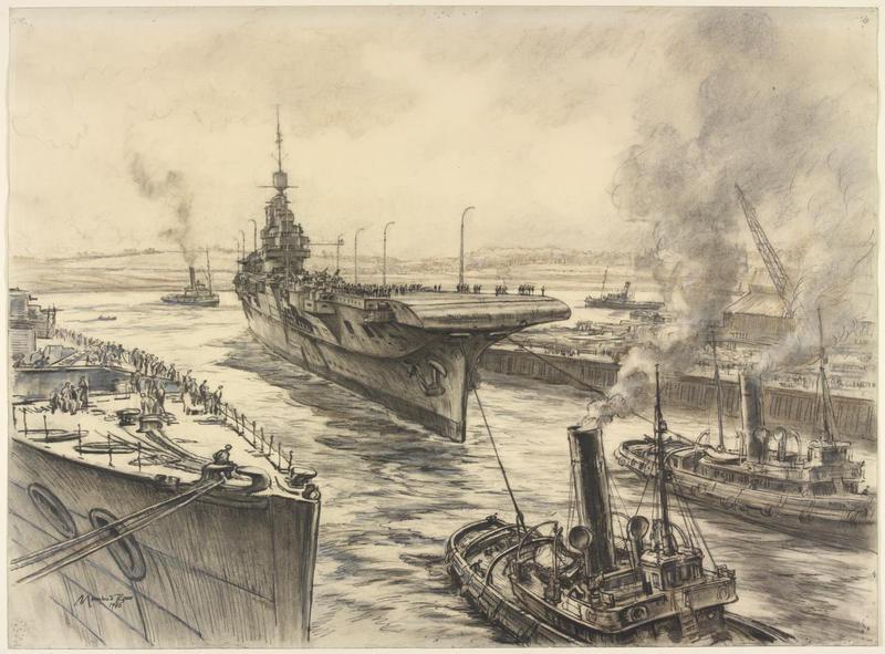HMS Illustrious entering the Basin at John Brown's Shipyard, Clydebank 1940