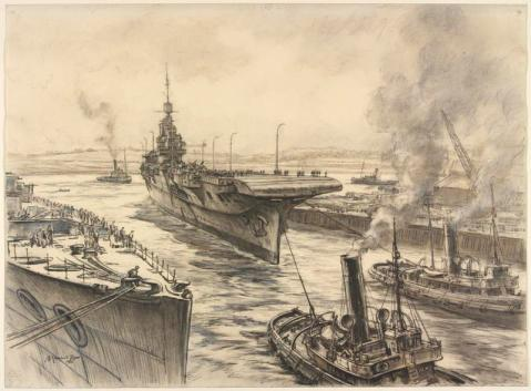 HMS Illustrious entering the Basin at John Brown's Shipyard, Clydebank 1940