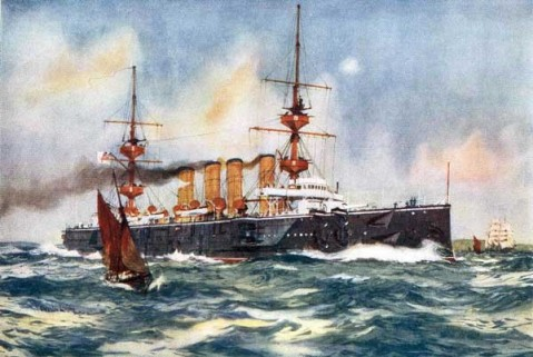 HMS Powerful Steaming up the English Channel, 1900, Charles Dixon RI