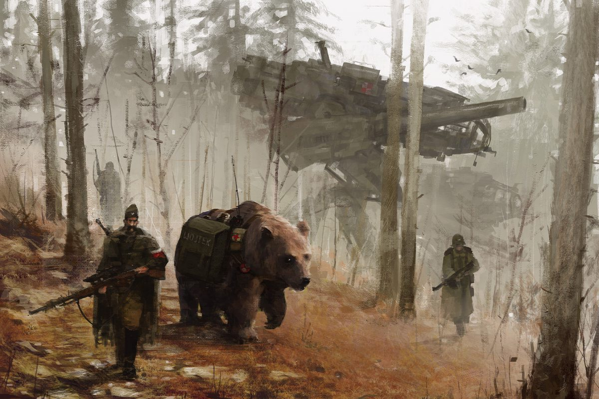 Wojtek. Note the sniper rifle The bear by this name was famous among Free Pole forces in WWII https://en.wikipedia.org/wiki/Wojtek_(bear)