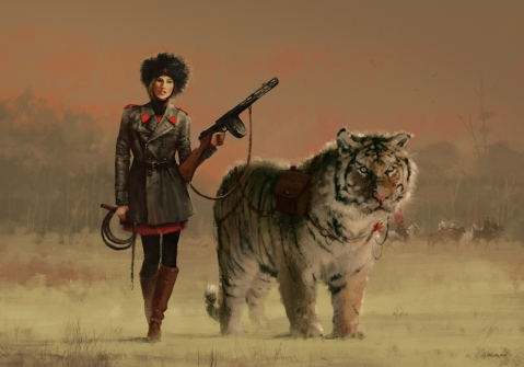 What's not to like about a PPSh-wielding, tiger riding she-warrior of the Carpathians