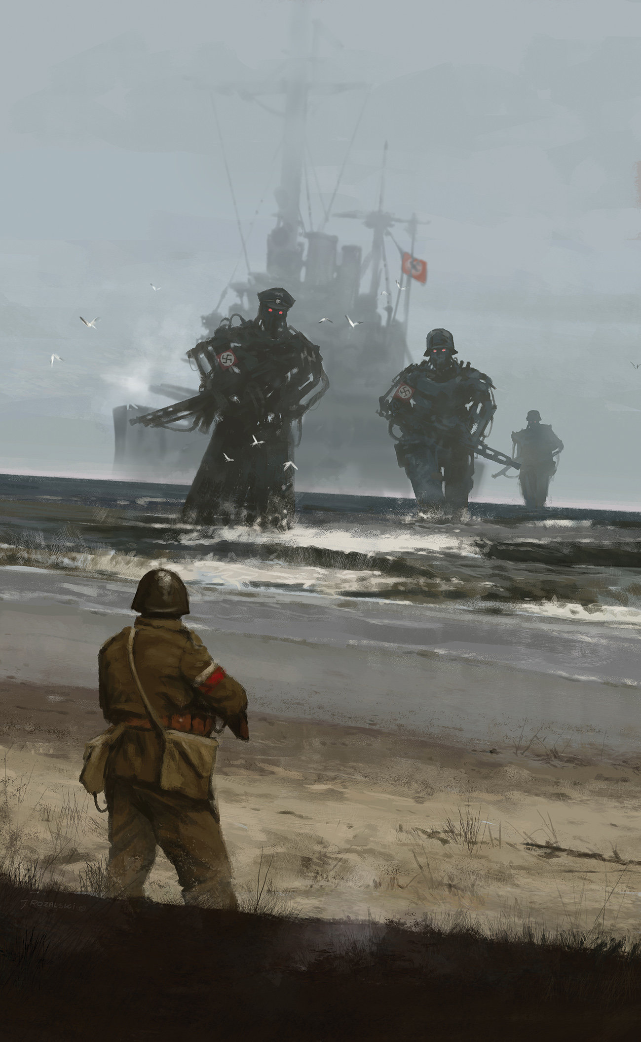 """""""Westerplatte"""" Note the Polish infantryman vs Nazi mechs and the SMS Schleswig-Holstein https://laststandonzombieisland.com/2015/01/21/warship-wednesday-january-21-2015-a-teutonic-heavy-in-two-world-wars/"""