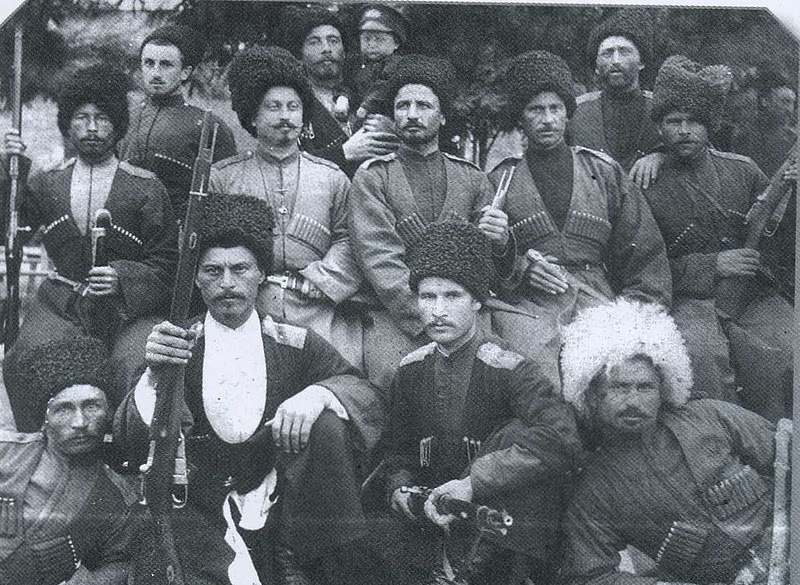 Members of the 2nd Gorsko-Mozdoksky Regiment of the Terek Cossacks, undated cossack mosin