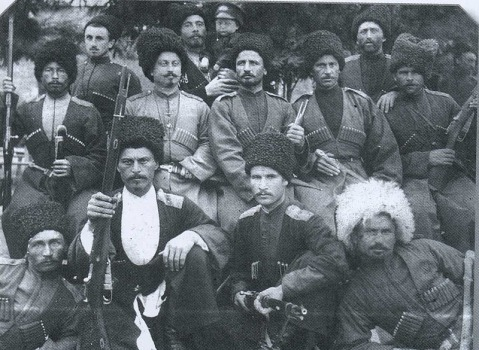 Members of the 2nd Gorsko-Mozdoksky Regiment of the Terek Cossacks, undated cossack mosin