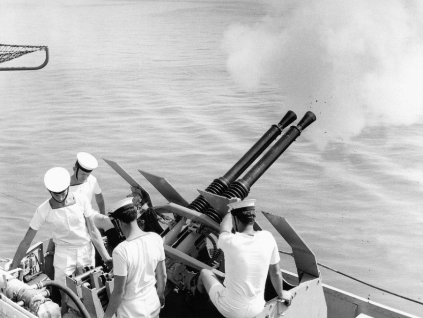 National Salutes exchanged as Melbourne enters Manila Bay at 0850, 22 May 1969 prior to anchoring at 0900. she would keep her WWII era bofors, though reduced in number, until her decommisoning