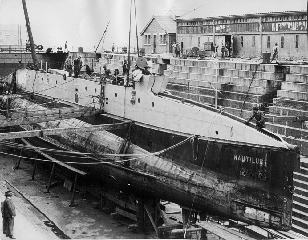 Nautilus in the dry dock in Devonport, England undergoing repairs to the engines and other items things that failed during the first part of the voyage