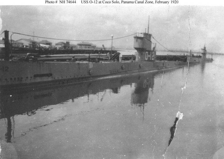USS O-12 (Submarine # 73) At Coco Solo, Panama Canal Zone in February 1920. Donation of Lieutenant Gustave Freret, USN (Retired), 1971. U.S. Naval History and Heritage Command Photograph. Catalog #: NH 74644