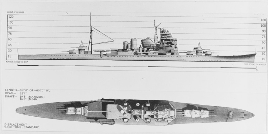 World War II era recognition drawings, showing the configuration of Takao (1932-1945) and Atago (1932-1944), as modernized in 1938-39. The original print came from Office of Naval Intelligence files. U.S. Naval History and Heritage Command Photograph. Catalog #: NH 97770