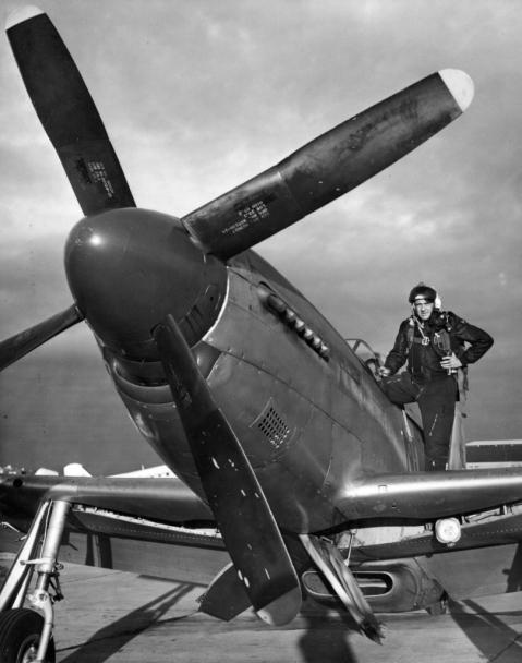 P-51 mustang pilot of the North Dakota ANG in 1953, wearing Korean War-era helmet and flight suit 119th Fighterwing, North Dakota, 1953