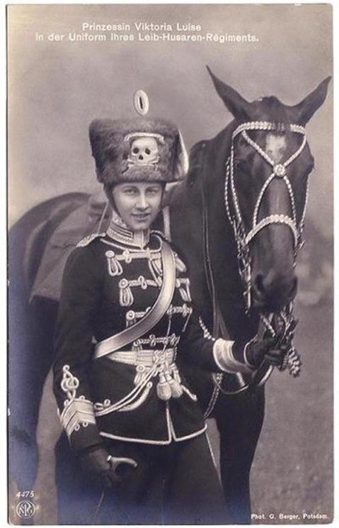 Princess Victoria Louise of Prussia wears the uniform of the Leib Husaren Regt Nr. 2. in these photos from around 1910