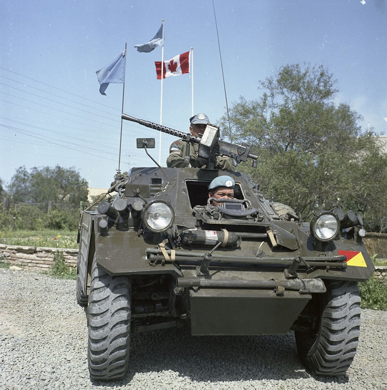 RCD Ferret on patrol in Cyprus. note WWII era M1919
