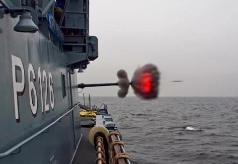 Schnellboot Type 143A Gepard class fast attack craft P6126 Frettchen 76mm gun in action