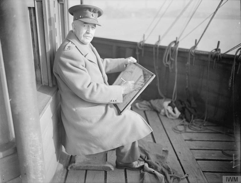 Sir Muirhead Bone at work on the bridge. 1940