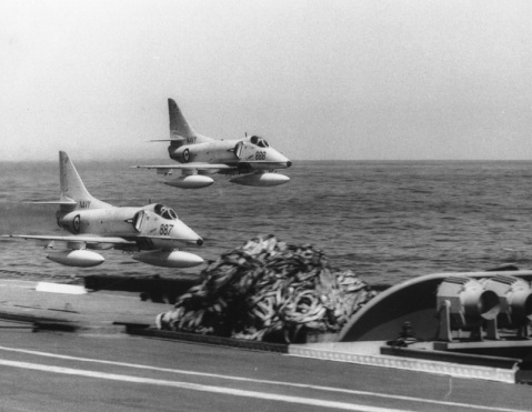 A-4G Skyhawks conduct a low flypast 2 September 1971.
