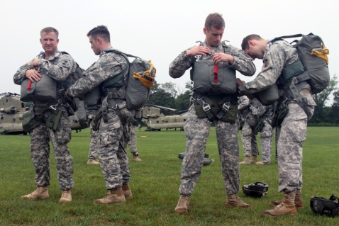 Team 5 from the Maryland Army National Guard's Long Range Surveillance Company, C Company, 1-158th Cavalry get ready to jump during Leapfest XXXI, in Kingston, R.I., Aug. 2, 2014. Leapfest is an airborne parachute competition sponsored by the Rhode Island National Guard to promote high level technical training within the international airborne community. (U.S. Army photo by Spc. Brady Pritchett)