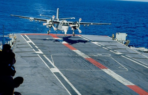 Tracker 848 about to take the wire aboard HMAS Melbourne, 1980 the USN had retired trackers in 1976