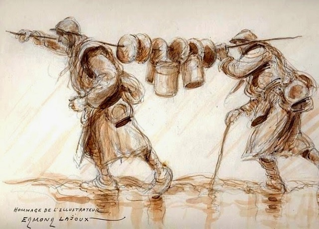 Transport-de-pains-enfilés-sur-un-bâton edmond lajoux