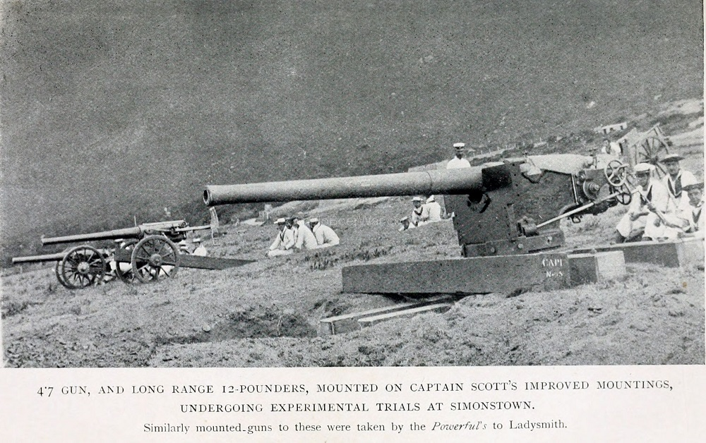 Trials at Simonstown of 4-7 and 12-pounders on Captain Scott's Improvised Mountings