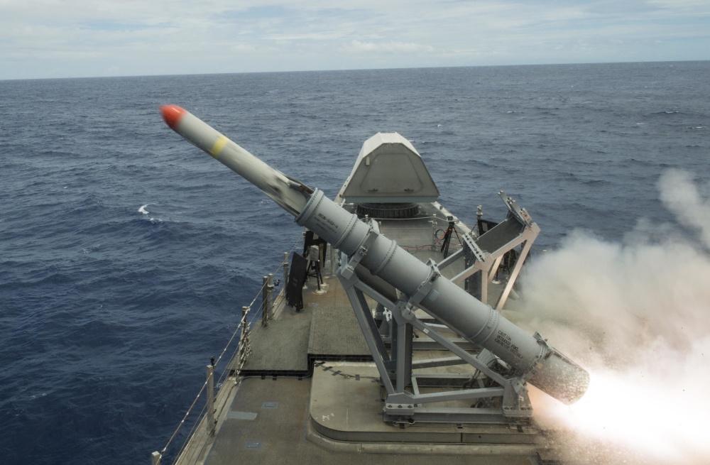 USS Coronado (LCS 4) launches harpoon missile during RIMPAC 2