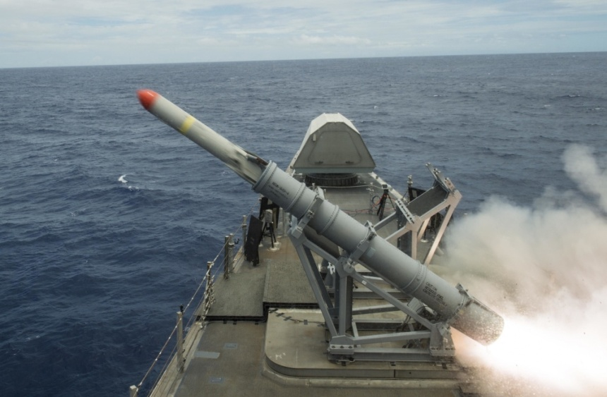 USS Coronado (LCS 4) launches harpoon missile during RIMPAC 2