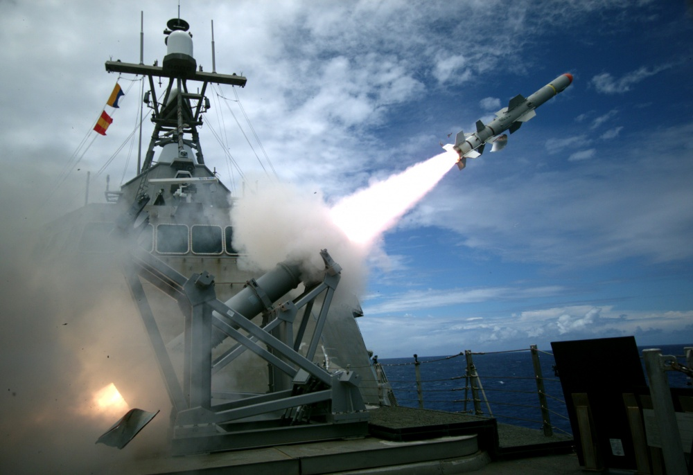 160719-N-ZZ999-007 USS CORONADO (July 19, 2016) USS Coronado (LCS 4), an Independence-variant littoral combat ship, launches the first over-the-horizon missile engagement using a Harpoon Block 1C missile. Twenty-six nations, 40 ships and submarines, more than 200 aircraft and 25,000 personnel are participating in RIMPAC from June 30 to Aug. 4, in and around the Hawaiian Islands and Southern California. The world's largest international maritime exercise, RIMPAC provides a unique training opportunity that helps participants foster and sustain the cooperative relationships that are critical to ensuring the safety of sea lanes and security on the world's oceans. RIMPAC 2016 is the 25th exercise in the series that began in 1971. (U.S. Navy photo by Mass Communication Specialist 2nd Class Michaela Garrison/Released)