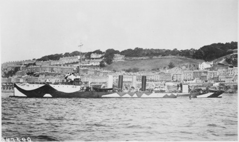 USS Paulding (DD-22) port side, camouflaged, Queenstown, Ireland, 1918. She was the USN's first oil-fired steamship, with earlier destroyers and torpedo boats being coal