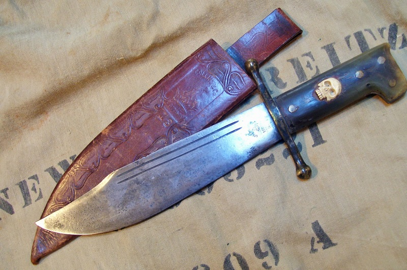 WWII LEGITIMUS no. 18 V-44 Green Horn Handle with SKULL Inset US Marine Corps RAIDER Knife via snyderstreasures 2