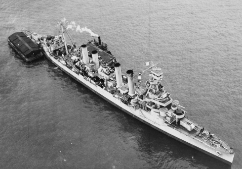 USS Omaha (CL-4) In New York Harbor, 10 February 1943. Photograph from the Bureau of Ships Collection in the U.S. National Archives. Note the added AAA suite. Catalog #: 19-N-40594