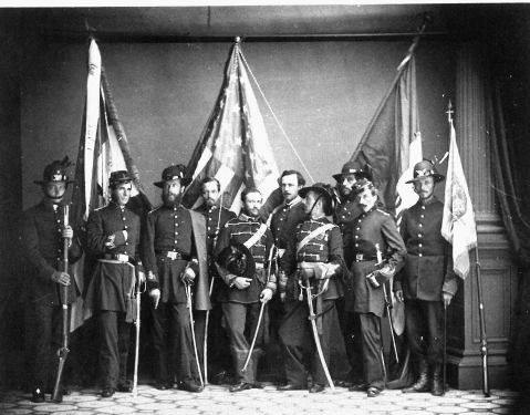 COL D'Utassy and 39th NY Garibaldi Guard Staff in the Uniforms they would have worn at Bull Run. Photo via USMA Collection