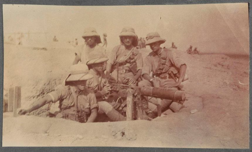 A Vickers machine gun post, June 1919. Of the 13 British infantry battalions that served during the 3rd Afghan War and the Waziristan uprising (1919-1920), nine were Regular and the rest Territorial. Photo: National Army Museum via Under Every Leaf.
