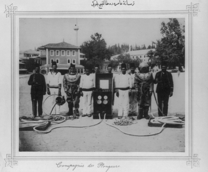 Battalion divers at the Imperial Naval Arsenal. Library of Congress's Abdul Hamid II Collection