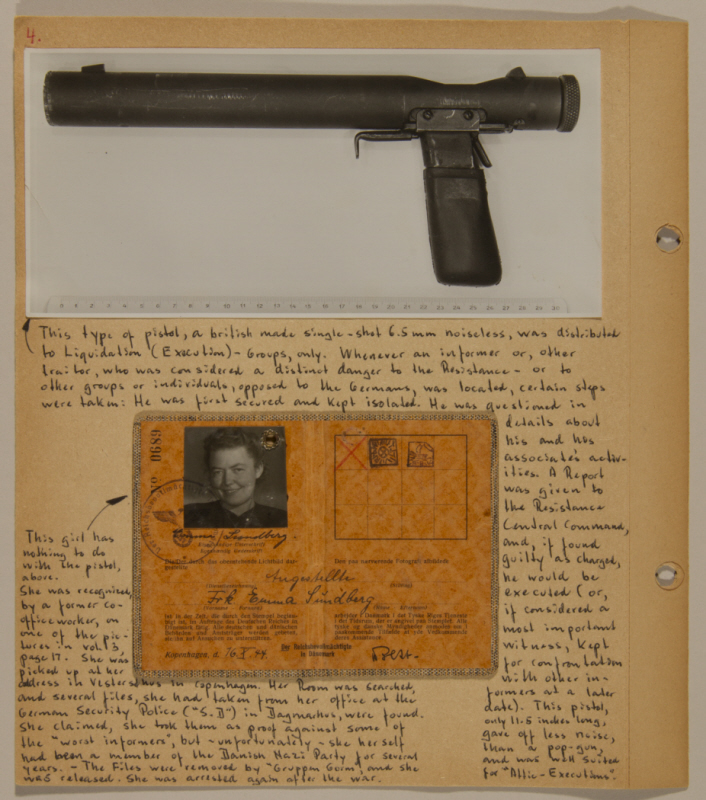 Bjorn Sibbern danish cop and underground welrod used to assasinate ID card of a female member of the Danish Nazi party photo via holocuast museum