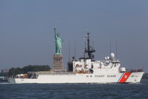 Coast Guard Cutter Bear transits past the Statue of Liberty in New York City June 19, 2016. The Bear is a 270-feet medium endurance cutter