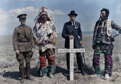 Crow Indian Reservation, Montana - Men stand at the site of the monument to the Seventh Cavalry.Image: Edwin L. Wisherd/National Geographic Creative/Corbis