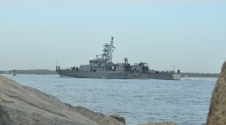 MAYPORT, Fla. (Aug. 02, 2016) – The Cyclone-class Patrol Coastal USS Shamal (PC 13) returns to homeport U.S. Naval Station Mayport after a 62 day deployment to the 4th Fleet area of responsibility where they conducted counter illicit trafficking operations in support of Operation Martillo. Operation Martillo is a joint international low enforcement and military operation involving U.S., European and Western Hemisphere partner nations, targeting illicit trafficking routes in the waters off Central America. (U.S. Navy photo by Mass Communication Specialist 2nd Class Michael Hendricks/Released)