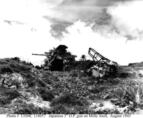 "Photo #: USMC 134057. Mili Island, Mili Atoll, Marshalls Group. Damaged Japanese Navy Type 89 5""/40 twin dual-purpose gun mount on Mili, at the time of the island's surrender in late August 1945. Photographed by R.O. Kepler, USMC. U.S. Marine Corps Photograph."